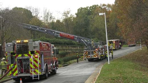 Fire crews at University Village
