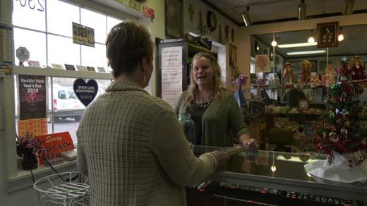 Holly Humphrey with a customer