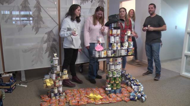 A team made a cactus out of canned goods