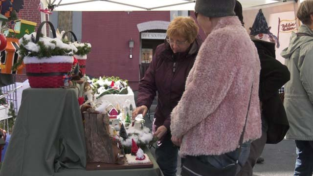 Shoppers at Charlottesville's Holiday Market