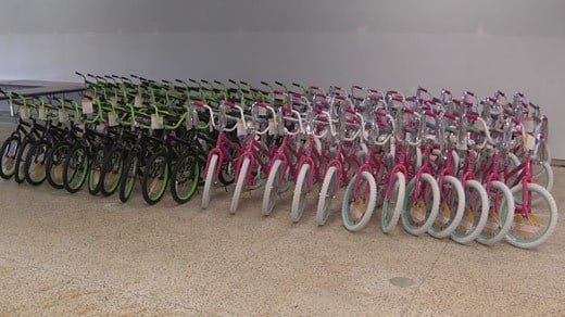 Assembled, donated bicycles for Toy Lift