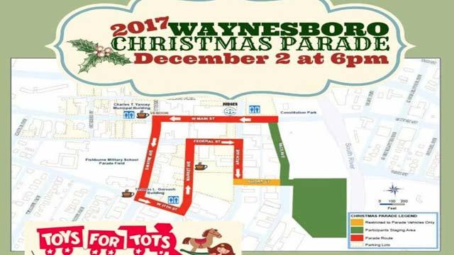 Waynesboro's Christmas Parade Route