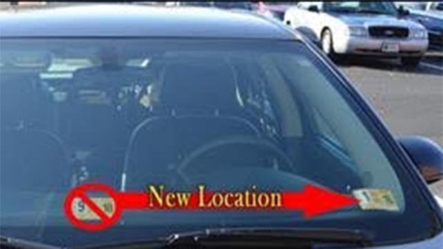 New location for inspection stickers