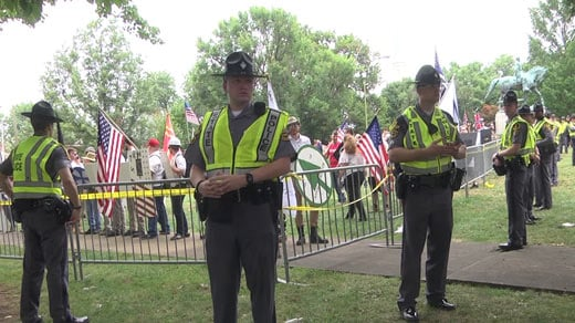 Members of the Virginia State Police around Emancipation Park on day of Unite the Right rally (FILE IMAGE)