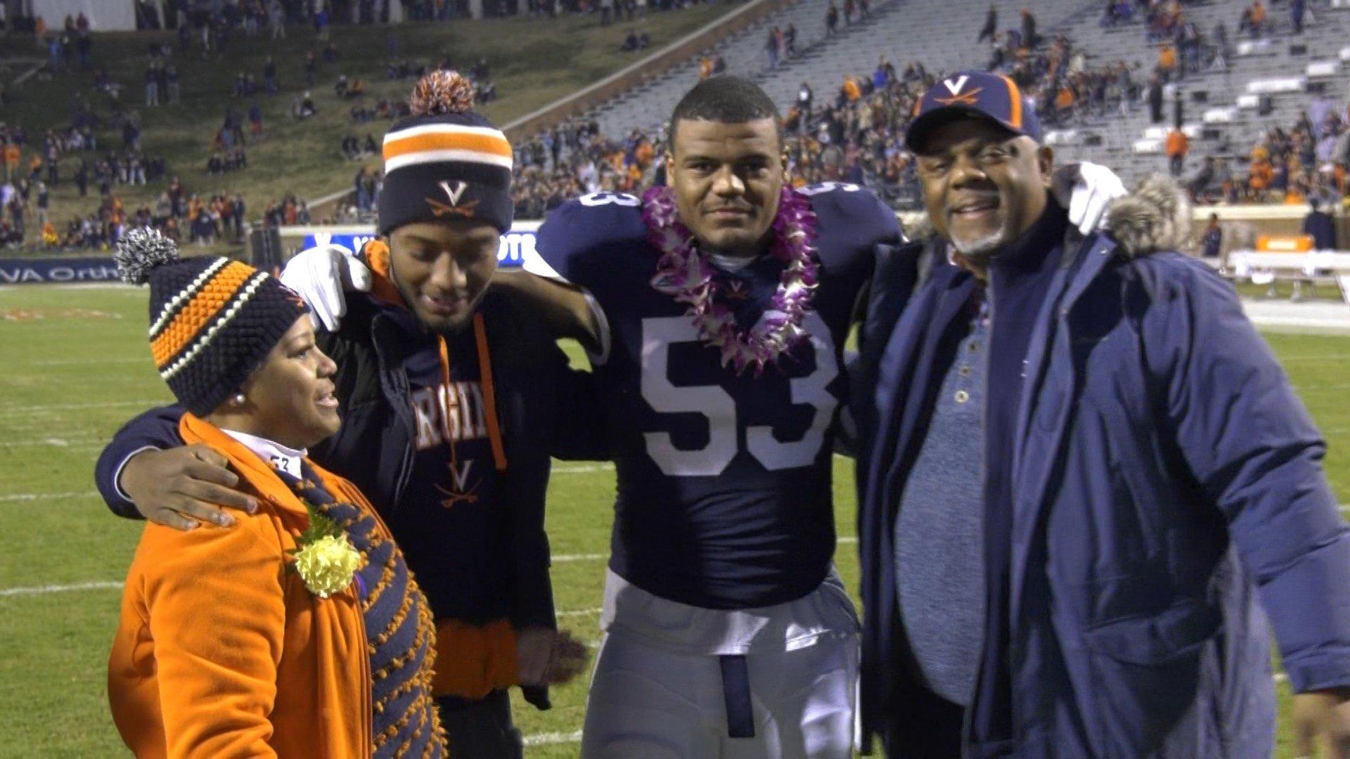 Micah Kiser with his family on Senior Night