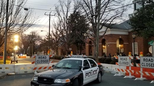 Police block off traffic around Charlottesville Circuit Court