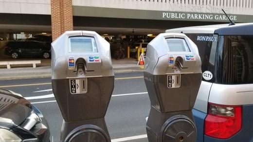 Parking meters along Market Street in Charlottesville