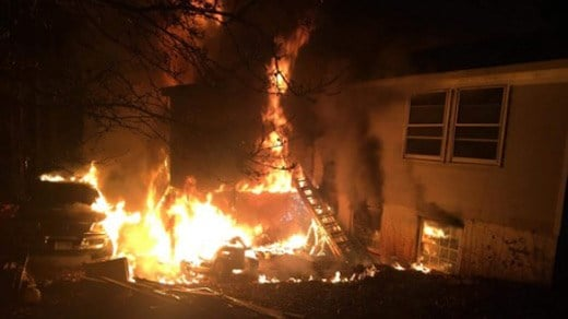 Scene of a fatal house fire along Matthew Mill Road (Image courtesy Facebook)