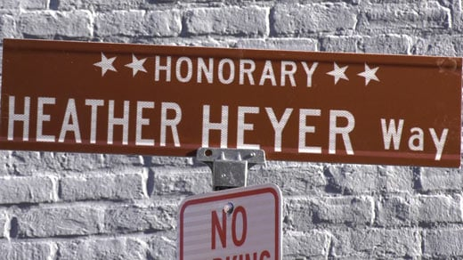 Sign for Heather Heyer Way (off of Market Street) in Charlottesville