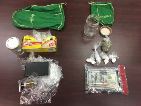 Drugs and paraphernalia found inside the vehicle.