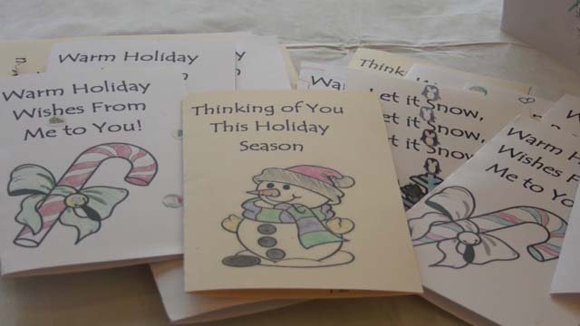 Kids from a nearby elementary school decorated cards