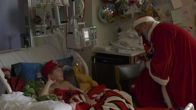 Santa visited the hospital on Christmas Day
