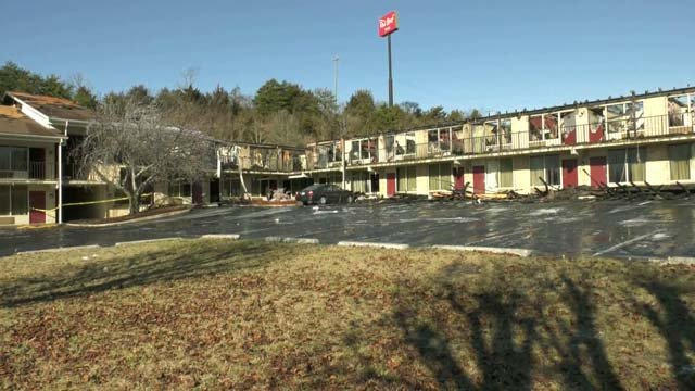 Destruction from the fire at Red Roof Inn