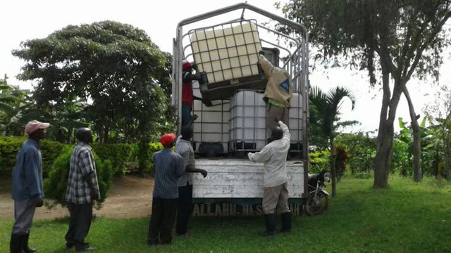 Water tanks for a village in Uganda (Photo courtesy Theresa Lynch)
