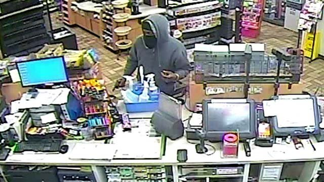 The robber's face was partially covered