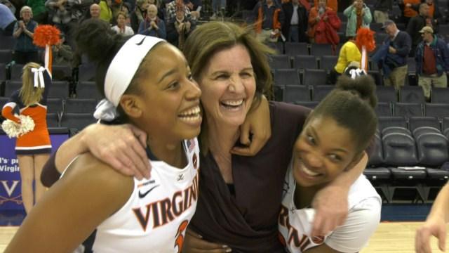 Joanne Boyle hugs Lauren Moses and Aliyah Huland El