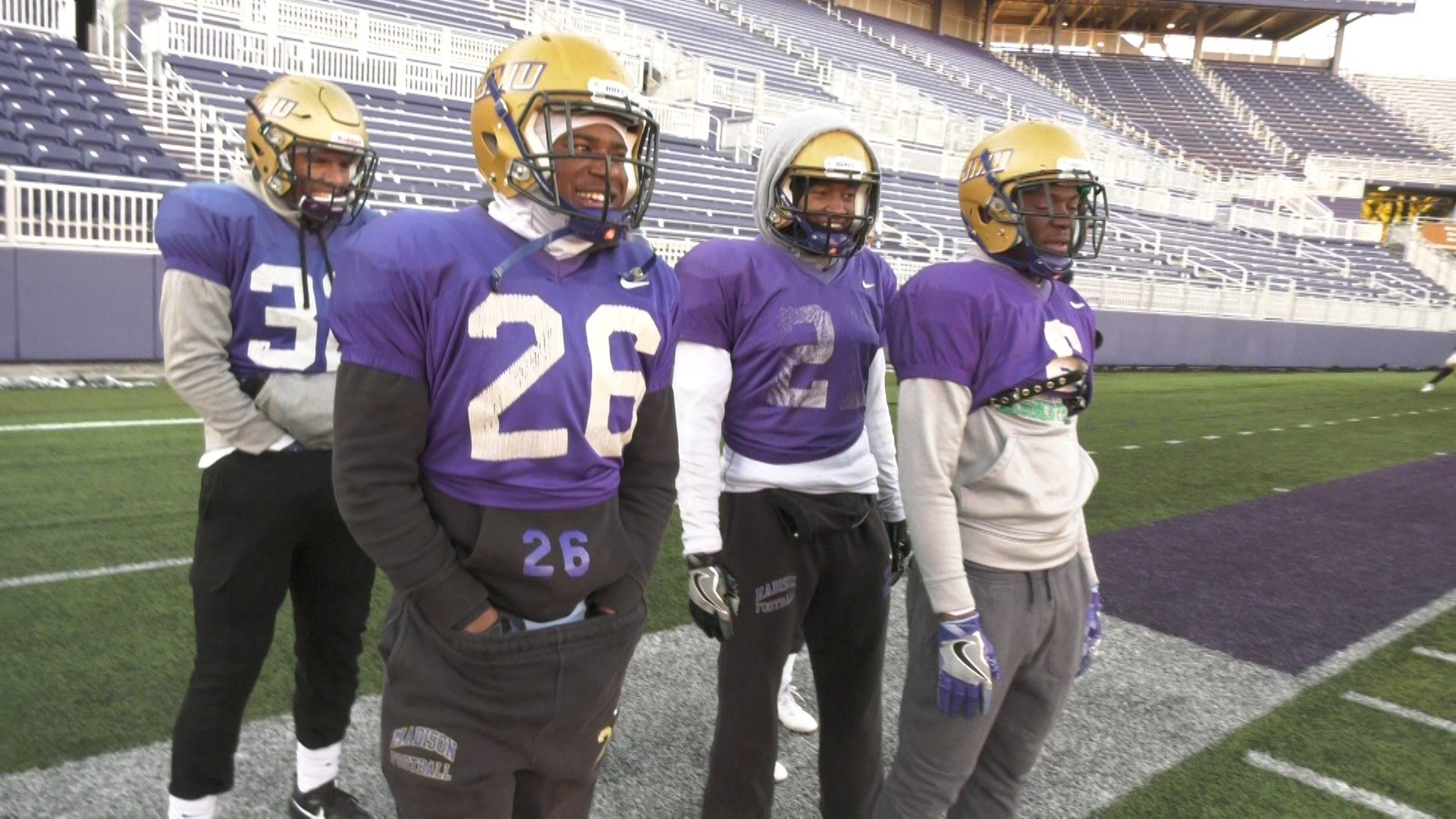 JMU football practices on New Year's Day