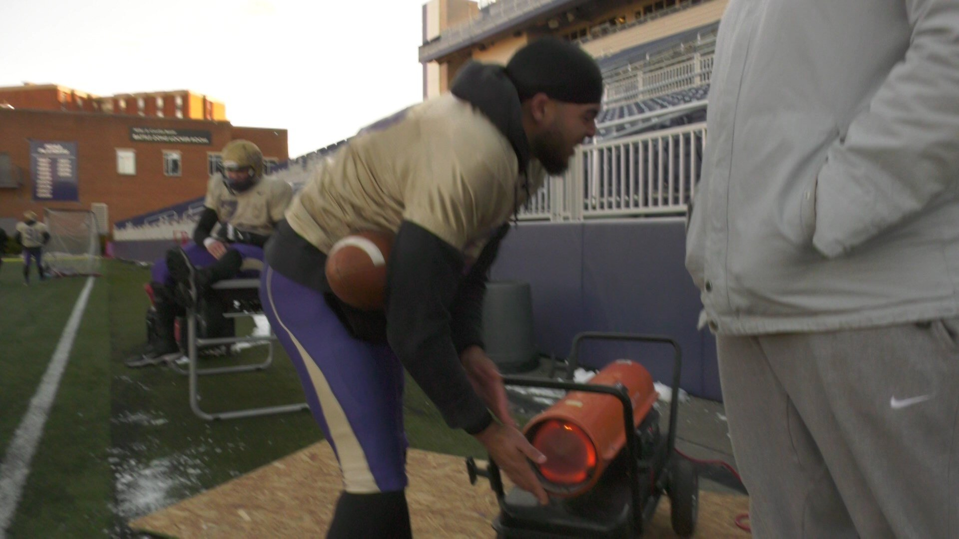JMU used heaters on the sidelines at practice