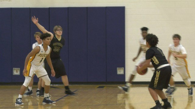 Kobi Copeland hits a three-pointer for Monticello