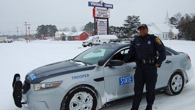 VSP Trooper Raushan Todd at the Virginia Diner in Wakefield, VA. (Photo courtesy VSP)