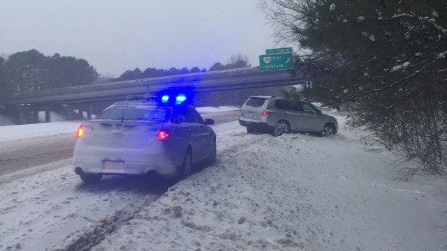 VA State Police Trooper C.D. Compton spent his day responding to crashed and stuck vehicles - just like this one - along Interstate 64 in the James City County/Williamsburg area (Photo courtesy VSP)