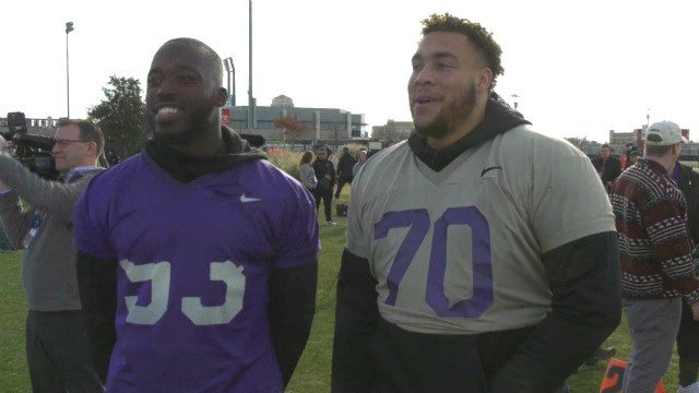 JMU seniors Andrew Ankrah and Aaron Stinnie