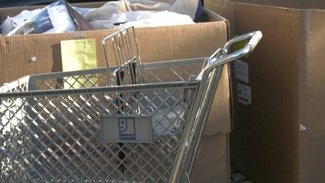 Donations being dropped off at a Goodwill store in Charlottesville