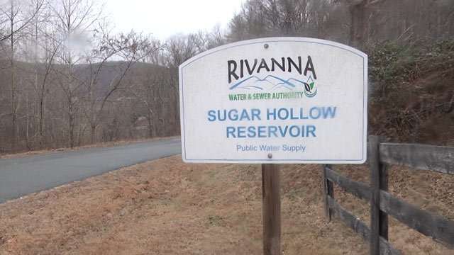 Sign for the Sugar Hollow Reservoir