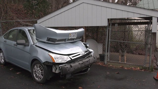 car in Albemarle County damaged after driving on icy roads