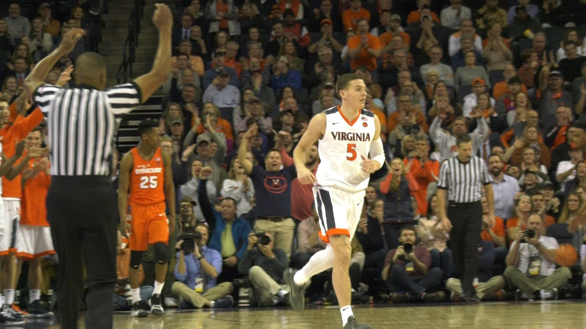 Kyle Guy scored a game high 22 points, while knocking down five three-pointers