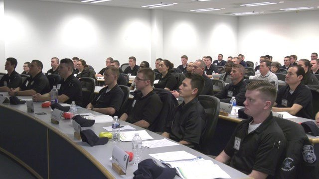 Law enforcement officers taking part in the Central Shenandoah Criminal Justice Training Academy