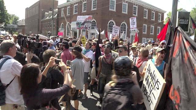 Protestors at the Unite the Right Rally in Charlottesville August 12, 2017