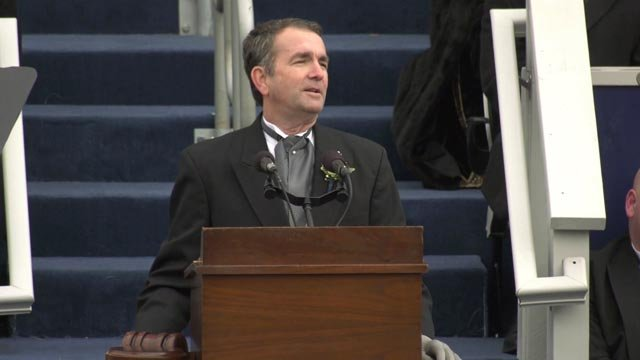 Ralph Northam speaking at Saturday's inauguration