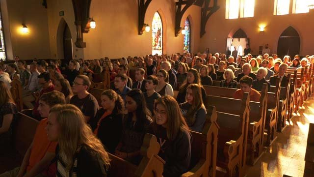 The chapel's pews filled with people on Jan. 23
