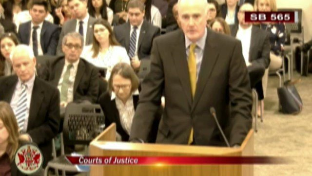 John Graham speaking to the Senate Courts of Justice Committee.