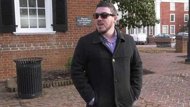 Jason Kessler speaking to reporters outside Albemarle Circuit Court (FILE IMAGE)