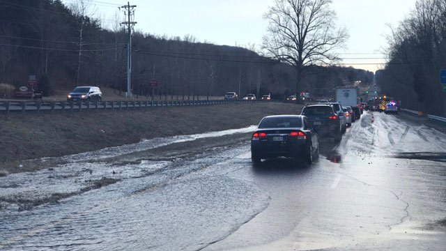 Water on Route 29 Northbound affecting traffic in Albemarle County (Photo courtesy ACPD)