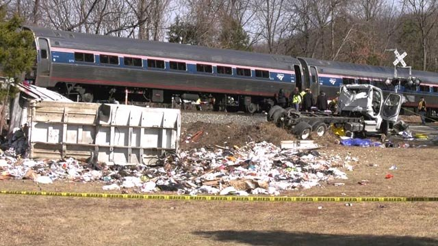 Scene of an Amtrak train that hit a vehicle in the Crozet area