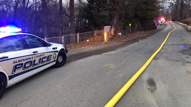 Scene near a house fire along Old Three Notch'd Road in Albemarle County
