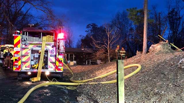 scene of fire in Albemarle County