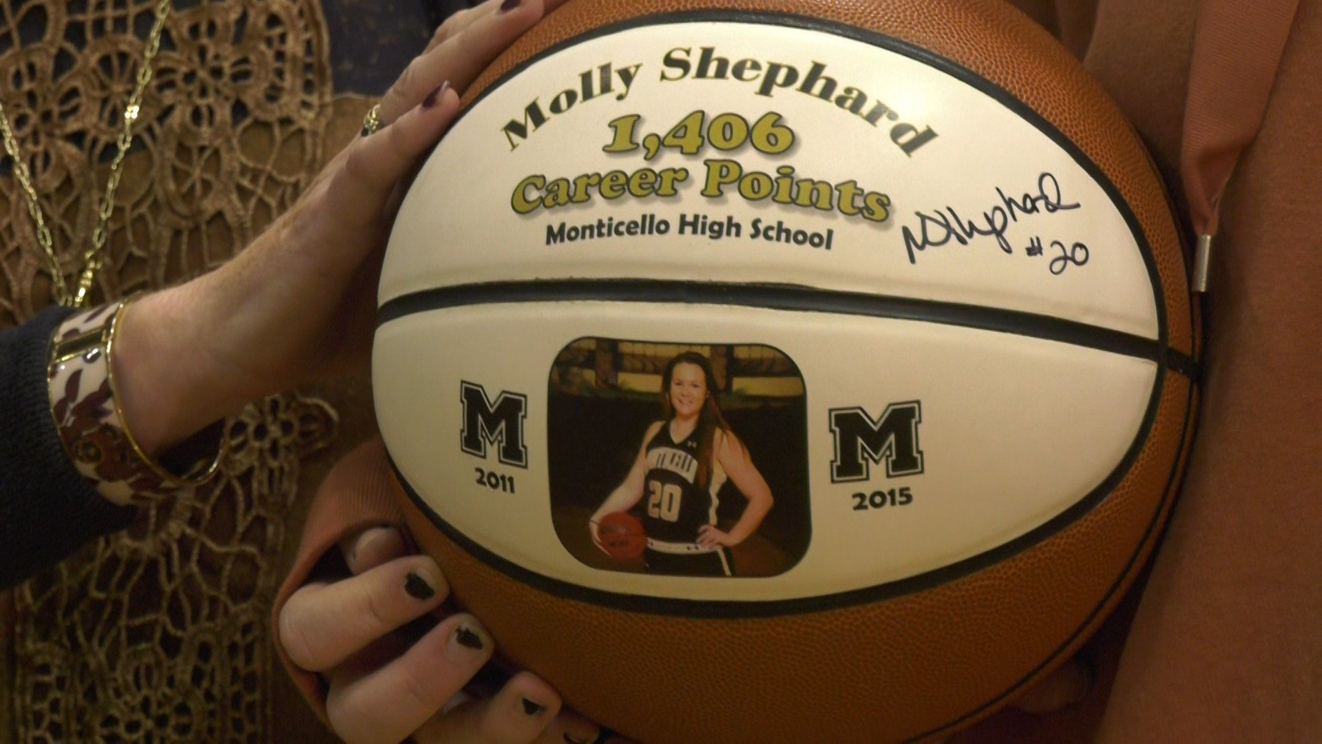 Monticello HS honored Molly Shephard as the school's all-time leading girls scorer