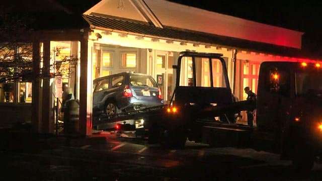 A Subaru was driven into a 7-Eleven on Monday night