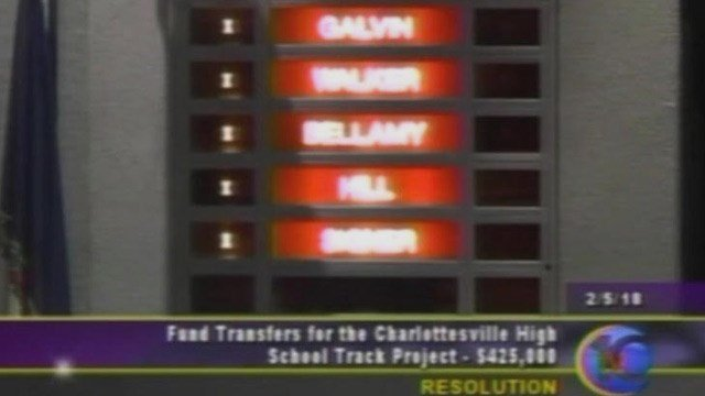Councilors voting to approve additional funds for improving the track at Charlottesville High School