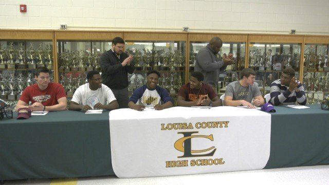 The Louisa County football team had six players sign National Letter's of Intent on National Signing Day