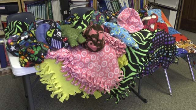 Students at Lafayette School made items for homeless people