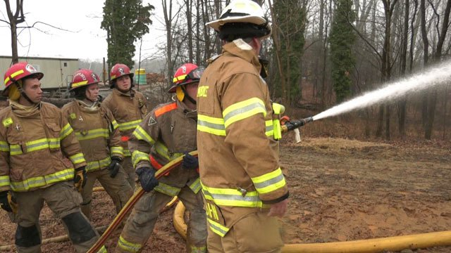 Albemarle County firefighters in training