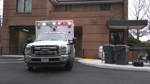Ambulance leaving Fire Rescue Station Eight in Albemarle County