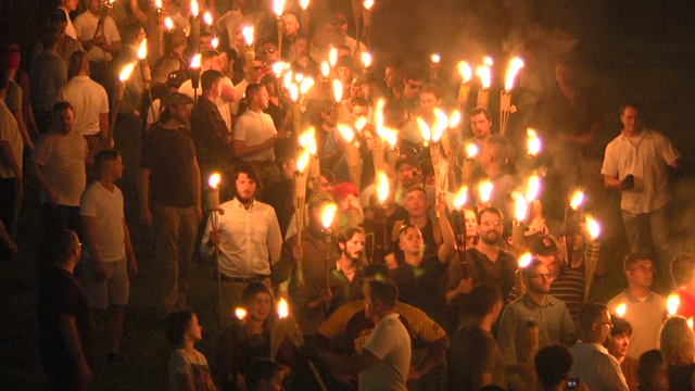 The white nationalist torch lit rally.