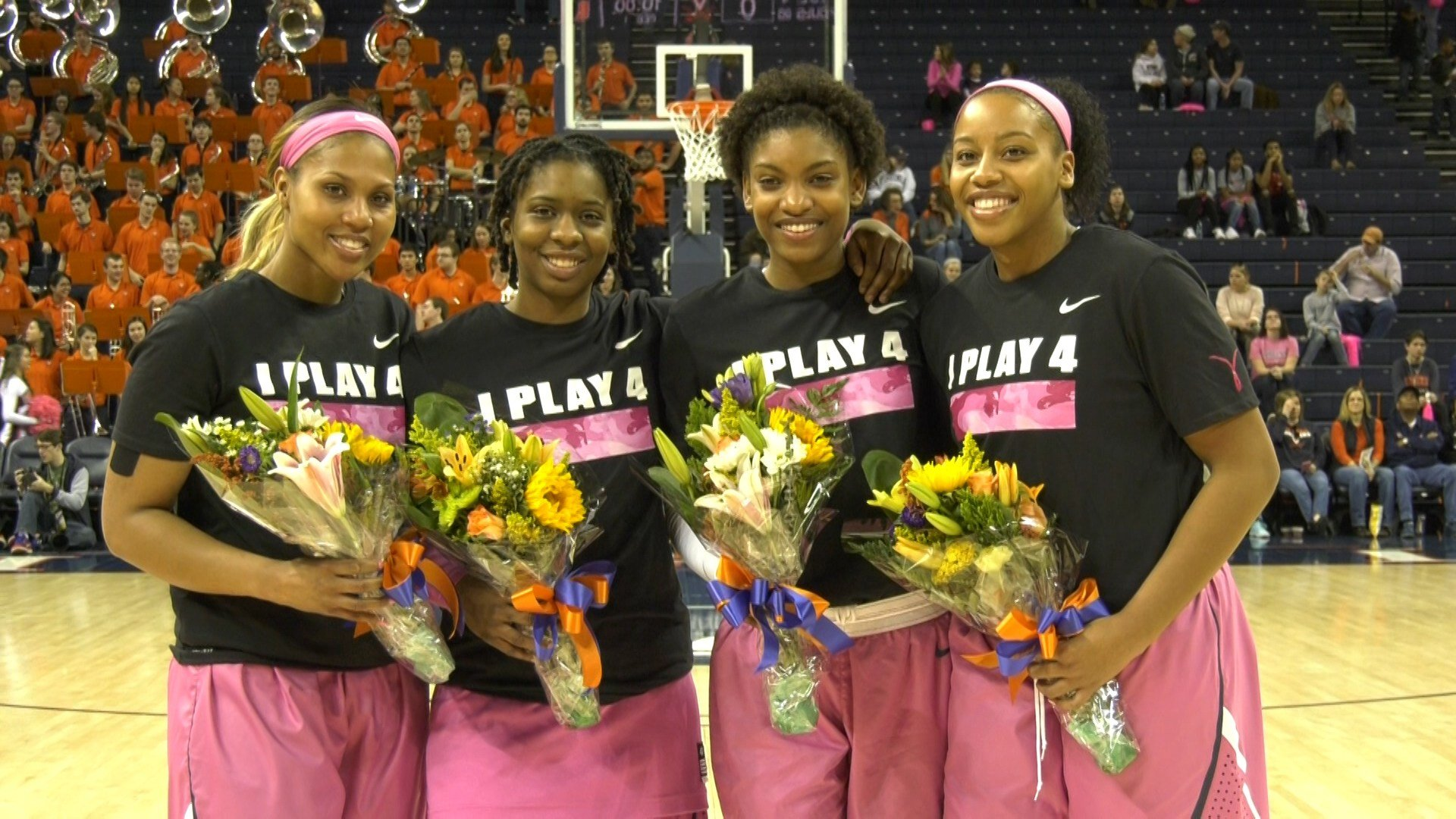 UVA Seniors Jae'Lisa Allen, J'Kyra Brown, Aliyah Huland El and Lauren Moses were honored on Senior Day