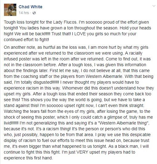 Facebook post by Chad White, coach with Fluvanna County High School